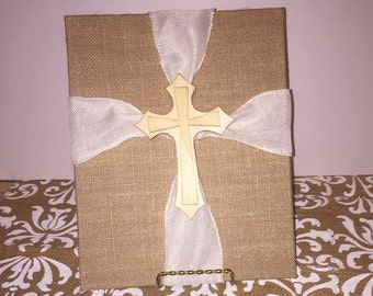 On sale now 4 dollars off!!Burlap and wooden cross canvas