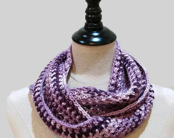 Lightweight purple infinity scarf, crochet knit cowl, multicolor eternity scarf, OOAK knit cowl, circle scarf, ready to ship