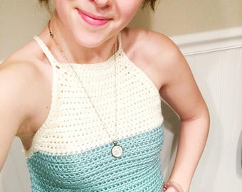 Crochet Racerback Crop Top in Turquoise and Cream