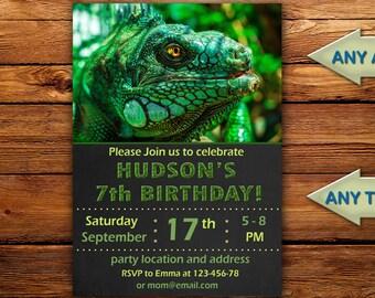 lizard birthday invitation, lizard birthday invitation digital,Reptile birthday invitation, iguana birthday invitation-DIGITAL FILE (kiy)