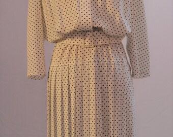 1980s polka dot dress by PRINCIPLES. White with black spots UK size 10