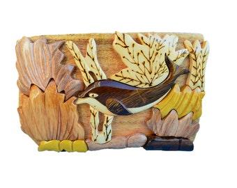 Wood Jewelry Box, Dolphin Wood Jewelry Box, Intarsia Box, Puzzle Box, Keepsake Box