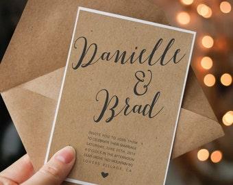Kraft Paper Wedding Invitation Printable Kraft Wedding Invite Calligraphy Wedding  Invitation Simple Wedding Diy Wedding Digital
