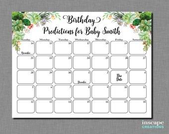 Succulent Baby Shower Birthday Predictions Calendar Printable Floral Baby Shower Due Date Calendar Gender Neutral Garden Birthday Guess Game