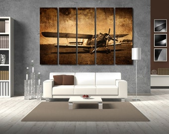 Aircraft Wall Art Multi Panels Set Old Plane Wall Art Aircraft Canvas Art Jets Wall Art Plane Print Poster Aircraft Wall Canvas MultiPanel