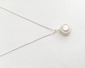 Pearl necklace, sterling silver pearl necklace, silver pearl pendant, natural pearl necklace, natural pearl pendant, 925 silver necklace