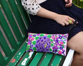 Tribal Style Wristlet Clutch With Embroidered Fabric
