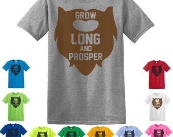 Grow long & prosper, beard T-Shirt, funny t-shirt star trek shirt