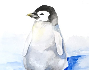 Original Penguin Watercolor Painting // Penguin Art // Baby Bird Art // 9 x 12 // Unframed // Penguin Wall Art // Bird Decor // Baby Gift