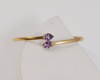 10k Yellow Gold Heart Shaped Amethyst & Diamond Bracelet 6.5'' Around(01145)