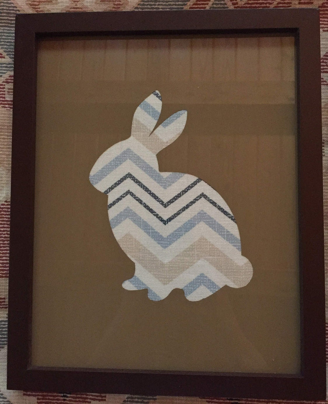 8x10 Brown Frame w/ Bunny Outline and Chevron Fabric Background ...