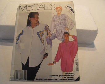 Vintage Sewing Pattern, McCall's 2766, Misses Shirt Pattern size small
