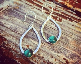 Sterling and turquoise teardrop dangle earrings