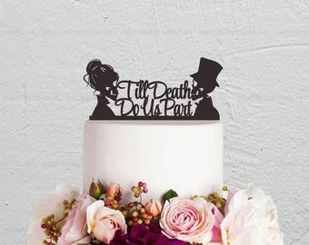 Skull Cake Topper,Wedding Cake Topper,Till Death Do Us Part Cake Topper,Custom Cake Topper,Skeleton Cake Topper,Halloween Topper