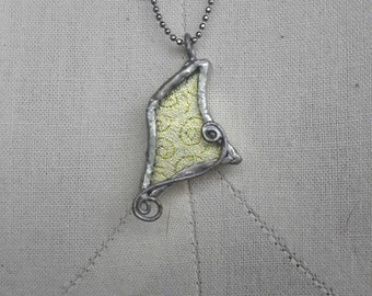 Etched Dichroic Whimsical Witch Hat Necklace