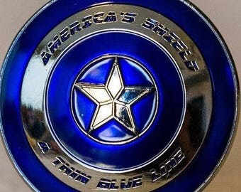 Thin Blue Line Shield Blue Lives Matter Police Challenge Coin  **FREE SHIPPING**