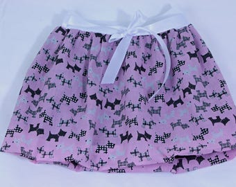 Pink skirt for girls, dog print skirt, summer outfit, girls skirt, todler skirt, girls clothing, customised skirt, elastic waist skirt