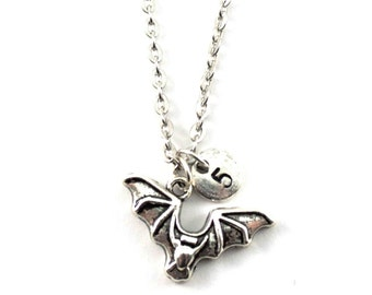BAT charm necklace, silver tone bat necklace, initial necklace, charm necklace, initial jewelry, personalized jewelry, gift for her