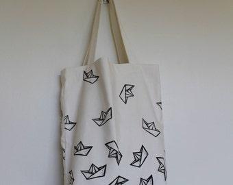 Tote bag, origami boat, pattern, hand-printed, canvas bag, pattern design, boat