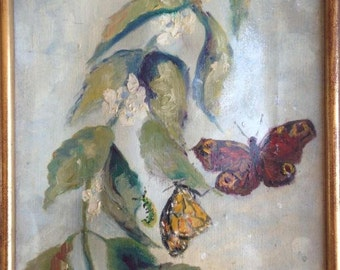 Framed butterflies oil on canvas signed French painting old vintage warped