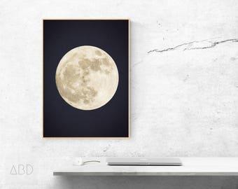 Full moon poster art, Full moon art print, Fool moon printable