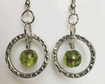 Silver Hoop & Glass Bead Dangles