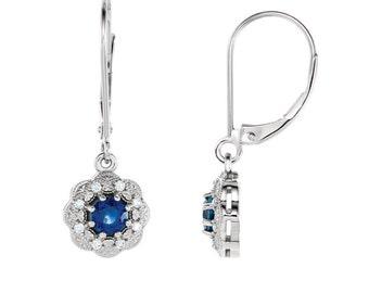 14K Gold Blue Sapphire Earrings / Diamonds & Sapphire Dangle Earrings White Gold / Sapphire Earrings Vintage-Style