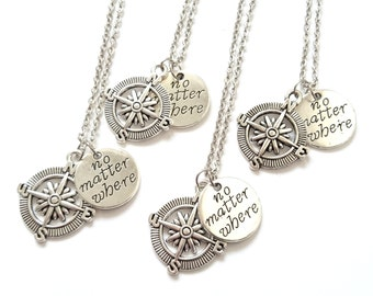 4 Best Friend Necklaces, Compass Charm Necklaces, Sisters, Christmas Gift, Quote Necklace, No Matter Where, Personalized Initial (N16.17)