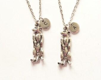 Meerkat Necklace, Meerkat Charm, Best Friends Necklace, Personalized Necklace, Initial Charm, Monogram (A14)