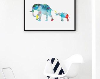 Geometric Elephant Print, Mother and Baby Print Modern Girl Nursery Decor, Nursery Printable Art, Geometric Art Print Triangle Kids Room Art