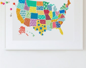 Us Map Wall Art united states map | etsy