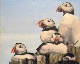 Puffin Wildlife Mounted Print- Puffin Rock. Wildlife Art. British Sea Bird Painting.