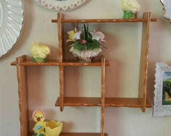 Vintage Shadow Box Display Shelf. Maple wood. 2 pc fit/interlock together. Made in Japan.