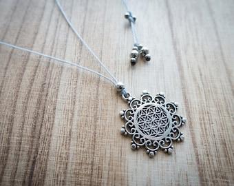 Necklace Flor de la Vida tribal boho hippie boho chic life jewelry flower of life pendant flower