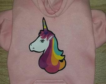 Unicorn Dog Hoodie - Dog Clothes - Cute Dog Sweater - Dog Sweatshirt - Dog Hoodie - Dog Jacket - Unicorn Print - Unicorn Clothing