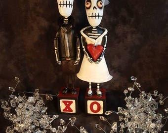 "Skeleton Wedding Couple ""Love is not Dead"" X and O cake topper Halloween Folk Art"