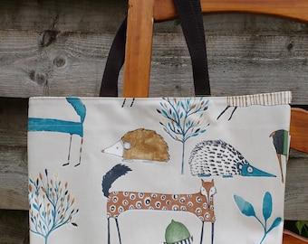 Oilcloth shopping bag, tote bag, market bag, country creatures fabric, hand held bag, shoulder bag, animal bag
