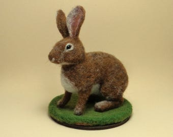 Needle felted Rabbit Cottontail Miniature - Realistic wool Sculpture - OOAK - Ready to Ship