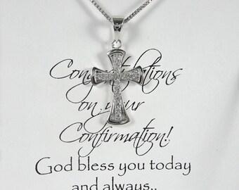 Cross Necklace, Christening Necklace, Baptism Gift Girl, Baptism Necklace, Flower Girl Necklace, Confirmation Necklace, Confirmation Gift