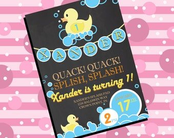 Rubber ducky first birthday invitation