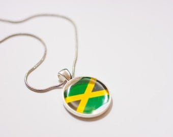 Jamaican flag necklace, Jamaican necklace, Jamaican pendant, Jamaican jewelry, flag necklace, silver necklace, flag jewelry,gift for women