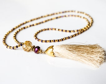 Luxurious Necklace, Bead Necklace, Glass Necklace, Tassel Necklace, Gold Color Necklace