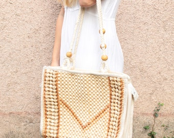 Vintage Boho Wicker Basket Bag