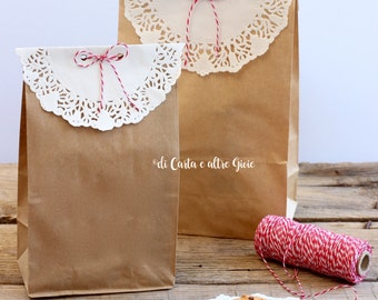Kraft Havana paper bags with square bottom and lace decoration