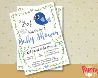 Printable Baby Shower Invitation boy - It's a Boy Baby Shower Invitation - Personalized Baby Shower Invitation Boy - Bird Baby Shower Boy