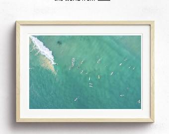 Framed Gold Coast Aerial Beach Photography, Large Wall Art Decor, Fine Art Photography, Art Prints, Australia, Beach, Aqua