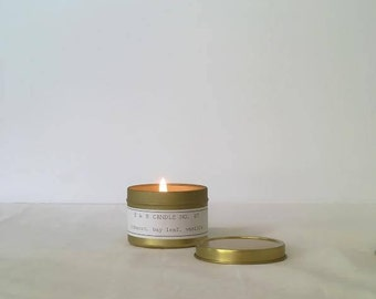 Soy candle. Travel size. Gold. Tin. Travel Candle. 4 oz Soy Wax Candle.