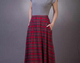 Tartan long skirt with pockets Maxi tartan skirt Long plaid skirt Maxi red plaid skirt with pockets Red tartan skirt women Long red skirt