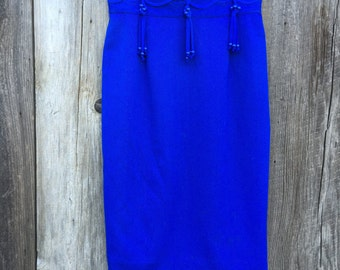 Cache by Joseph Ho Blue Wool Pencil Skirt