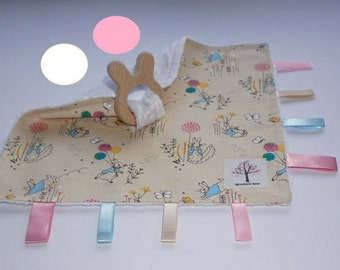 Pretty Peter/Beatrix Potter Rabbit sensory/taggy teething blanket with organic wooden rabbit teething ring